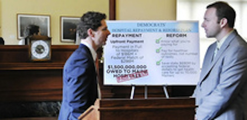 Maine Senate President Justin Aflond, left, and Speaker of the House Mark Eves