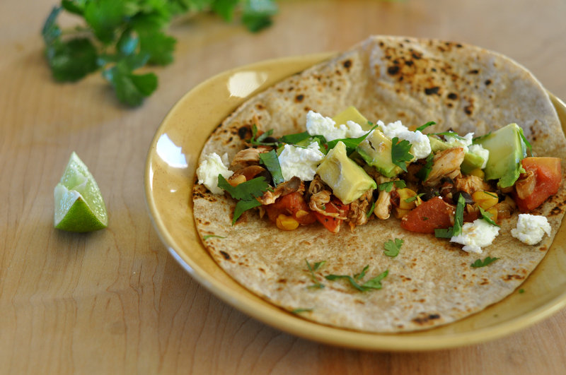 Chicken tinga, a quick spin on tacos
