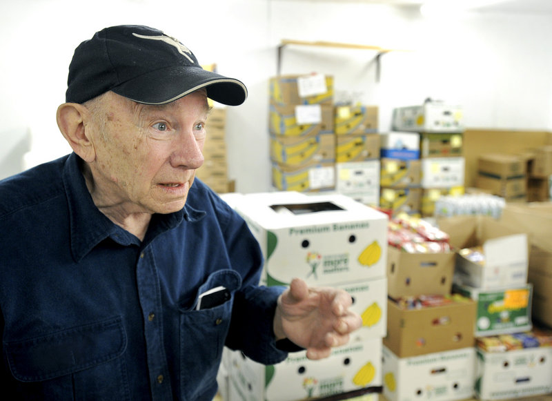 Bob Nichols helps run the Saco Food Pantry, which was used by 6,100 people in 2006 but more than 9,500 last year.