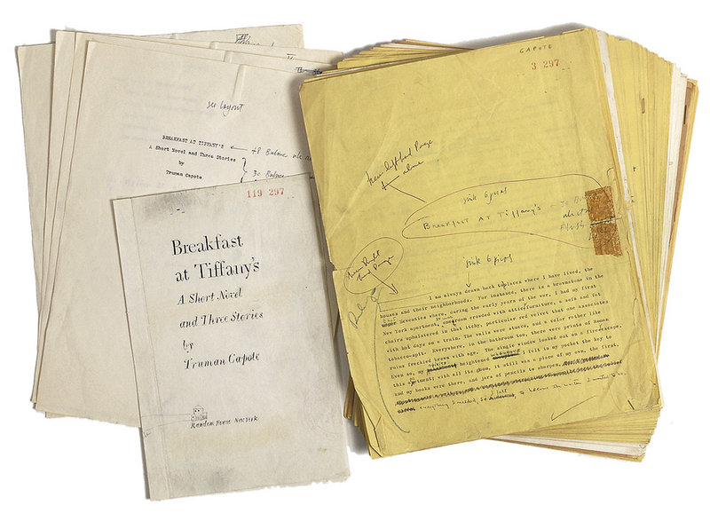 """This undated photo provided by RR Auctions in Amherst, N.H., shows a 1958 typed manuscript of """"Breakfast at Tiffany's,"""" with hand annotations by Truman Capote, which will be featured with other Hollywood-themed items at auction later this month."""