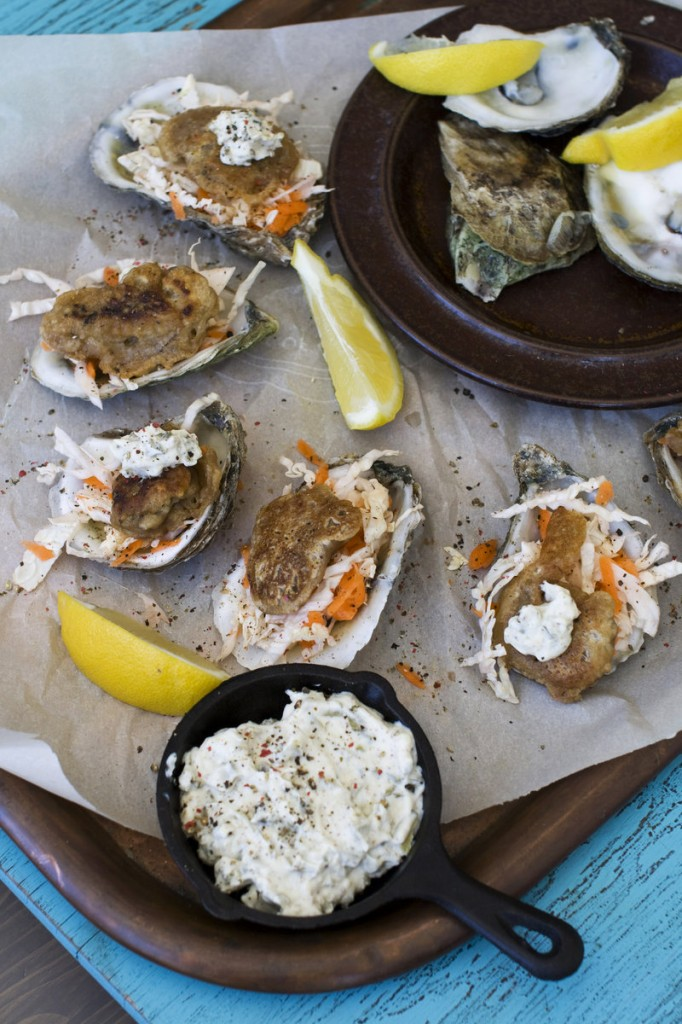 """""""Fried"""" Guinness-battered oysters sizzle with the heat of a spicy mustard. The oysters are sauteed in just a tablespoon of oil, far less than is required for deep frying."""