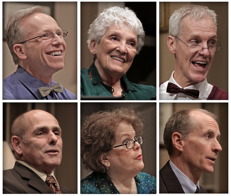 """The cast of Good Theater's """"Ancestral Voices,"""" top, left to right: Brian P. Allen as Eddie, Jocelyn Lavin Pollard as Grandmother and Stephen Underwood as Grandfather. Bottom, Bob McCormack as Harvey, Lee K. Paige as Jane and Wil Kilroy, who plays Harvey on Thursday."""
