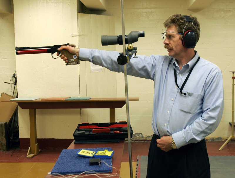 Bruce Martindale competes in a weekly air gun league in Troy, N.Y. Martindale, who normally uses a .22-caliber, has cut back on practice because ammunition is in short supply.