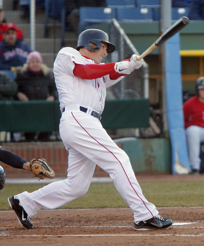 Stephen Drew, recovering from a concussion early in spring training, went 0 for 3 but drove in a run with a grounder during his first of what's expected to be four rehab appearances with the Sea Dogs at Hadlock Field.