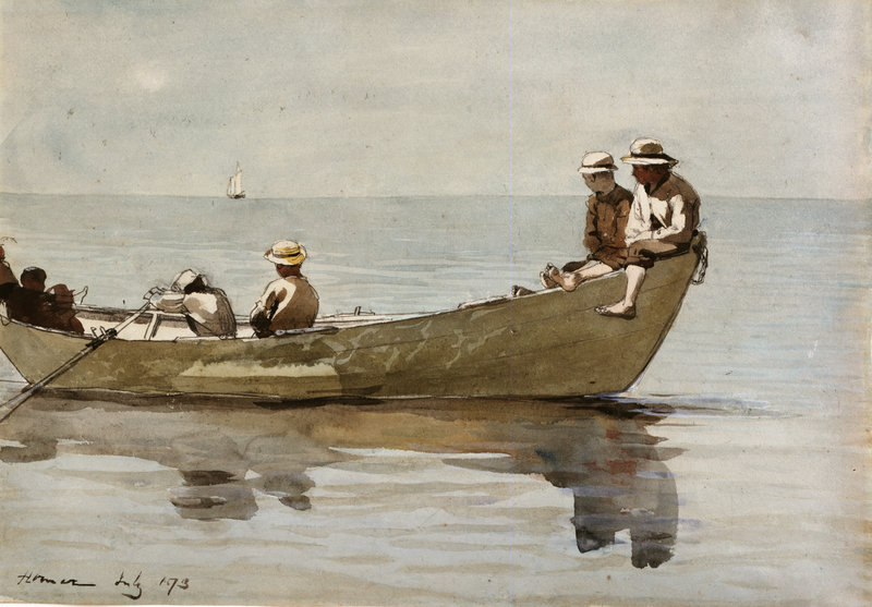 """Winslow Homer's """"Seven Boys in a Dory,"""" 1873, watercolor on paper"""