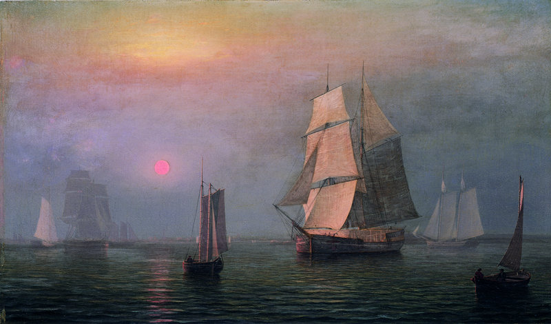 """Fitz Henry Lane's """"Shipping in DownEast Waters,"""" 1854, oil on canvas."""