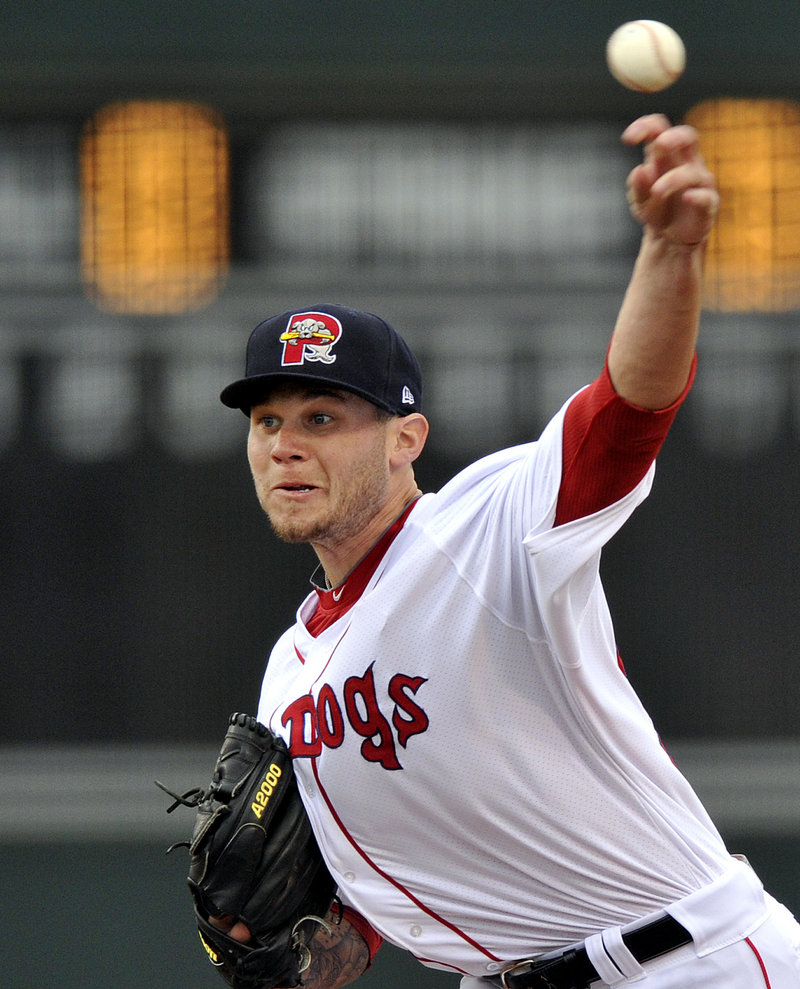 Drake Britton of the Portland Sea Dogs got the win Wednesday night, allowing four hits over six innings, striking out four with no walks.