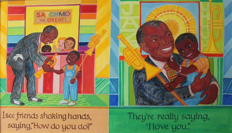 """Illustrations by Ashley Bryan depicting a loving Louis Armstrong, from """"Lines Converge, Colors Dance."""""""