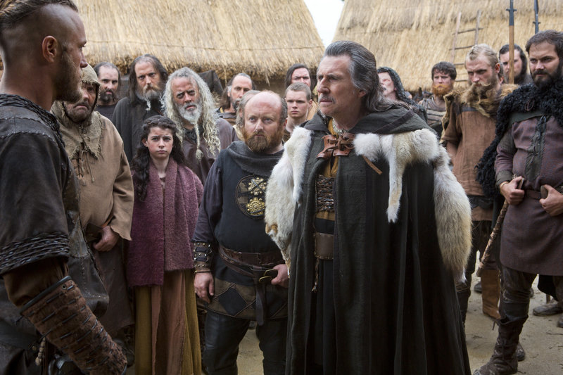"""Gabriel Byrne, right, with Travis Fimmel in the History Channel series, """"Vikings."""" Byrne, a Norse chieftan in """"Vikings,"""" also played a psychologist in the HBO drama """"In Treatment."""""""