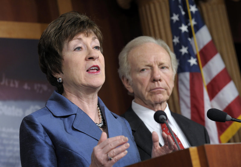 """By co-sponsoring the gun trafficking bill and and co-sponsoring a measure to fund school security efforts, U.S. Sen. Susan Collins, R-Maine, seen with then-Sen. Joe Lieberman, shows she's not afraid to stand up to """"gun extremists,"""" a reader says."""