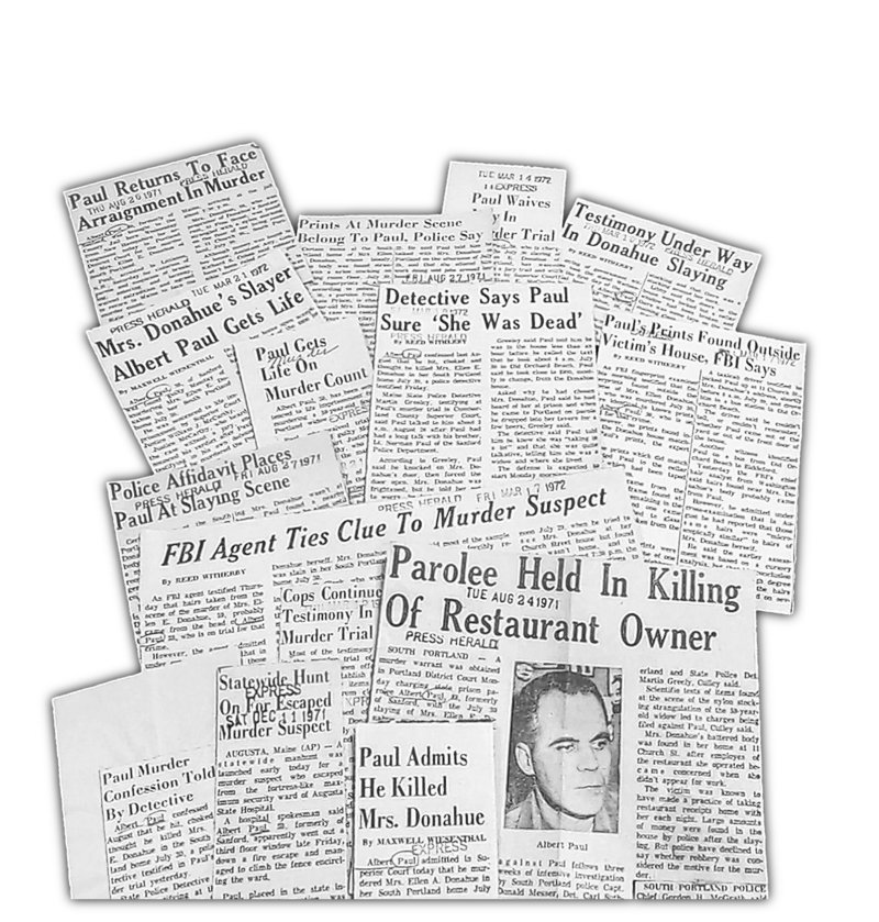 Clippings from newspaper archives chronicle Paul's journey to life in prison.