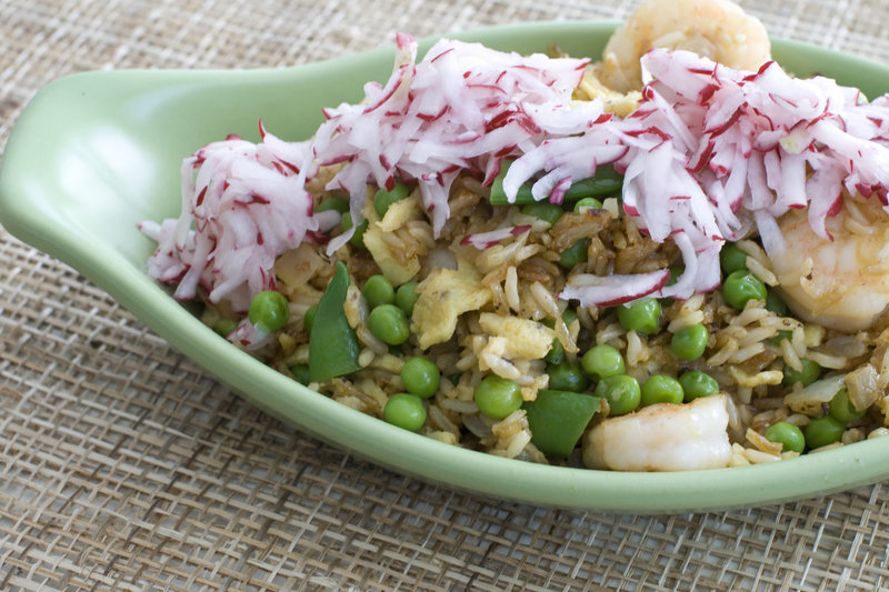 Fried rice with pickled radishes is a great way to use leftovers.