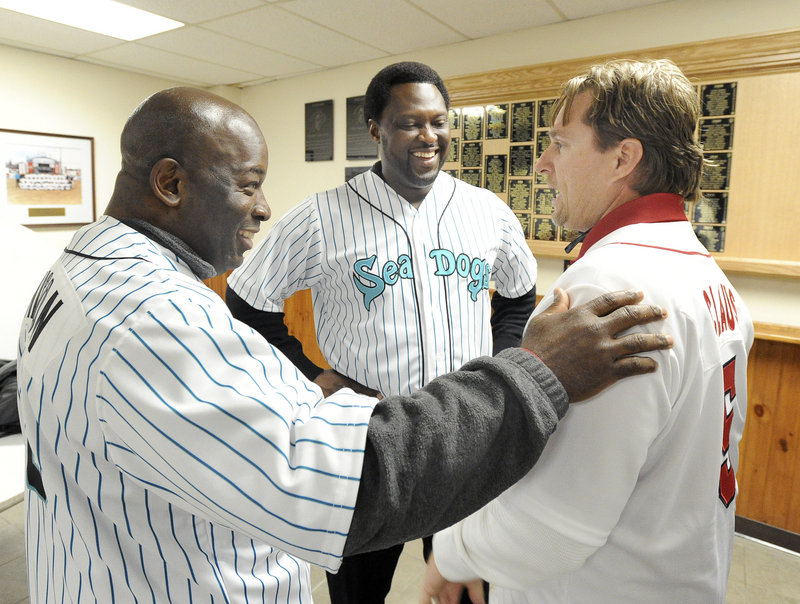 Turns out Todd Claus, right, a former Sea Dogs manager, played against Pookie Wilson, left, in college, and Charles Johnson, center, in high school. The things you find out when former players and managers come together.