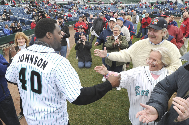 Twenty years later, the fans remember. And just as he was in the summer of 1994, when he was a young catcher striving to make the major leagues while playing for a first-year Eastern League franchise, Charles Johnson was the center of attention Thursday night at Hadlock Field.