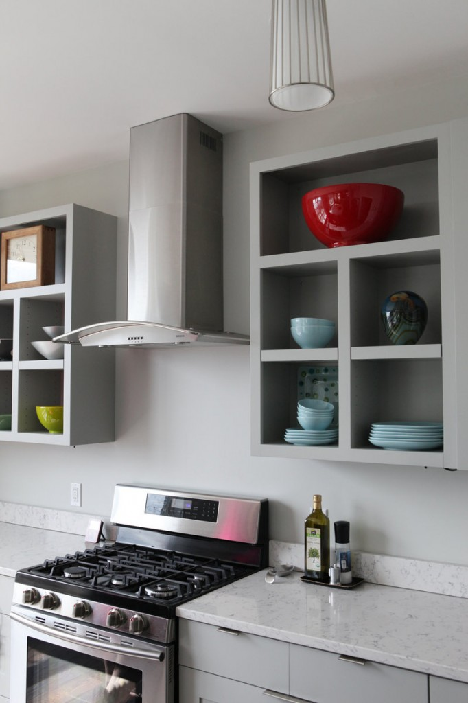 """A modern kitchen in the East End has Silestone counters, which look like marble but """"without the hassle,"""" says Pam Macomber, who owns the home with her husband Peter."""