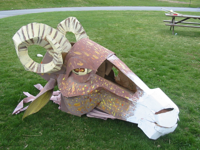 A ram puppet head made by Maine College of Art students for the 2006 Ebune parade in Portland.