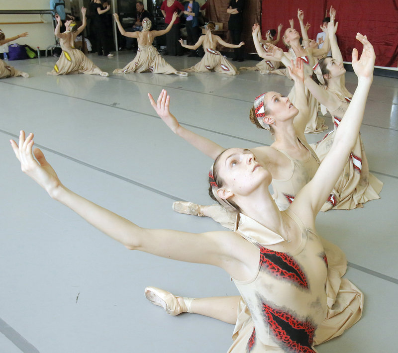 """Erica Diesl, Lindsay Cregier, Kaleigh Natale, Megan McCoy and fellow dancers rehearse at Portland Ballet for """"The Armed Man: A Mass for Peace."""""""