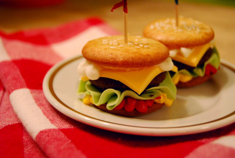Cupcakes that look like cheeseburgers, created by baker Adam Beckworth, will be served at the former Payson Park Evangelical Free Church during the Portland Kitchen Tour.