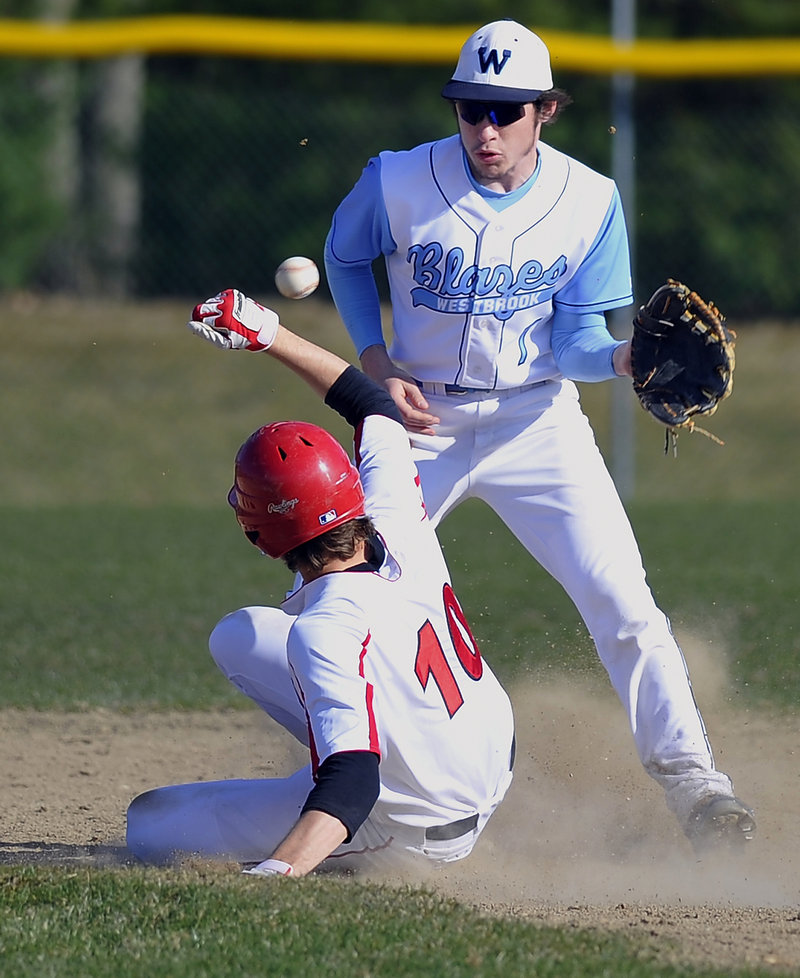 Collin Joyce of Westbrook keeps his eyes on the late throw Thursday as Sam Terry of Scarborough slides into second with a stolen base.