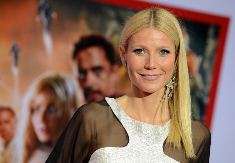 "Gwyneth Paltrow arrives for the premiere of ""Marvel's Iron Man 3"" on Wednesday after being honored by People magazine."