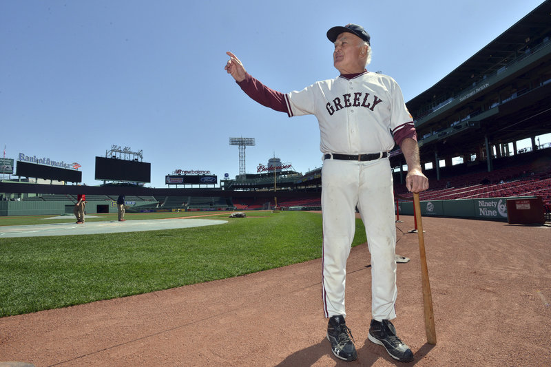 Mort Soule of Portland stands near home plate in Fenway Park before practicing his reading of 'Casey At The Bat' in preparation for Sunday's State of Maine Day at Fenway Park.
