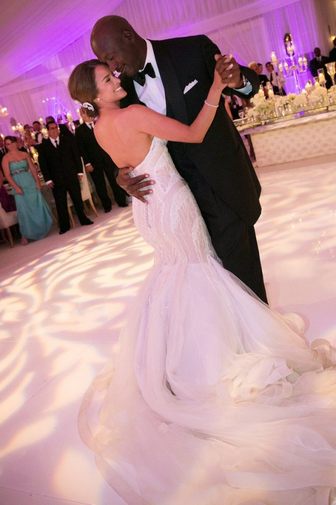 Michael Jordan and Yvette Prieto dance at their wedding.