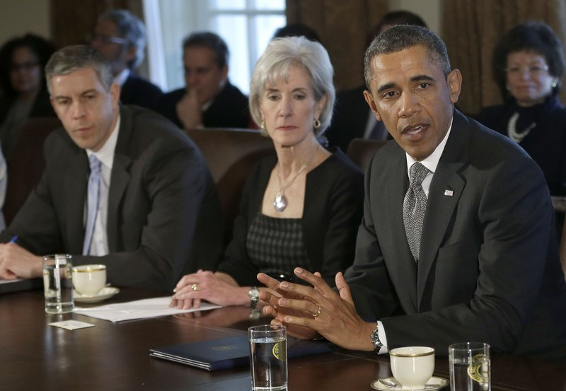 President Obama speaks during a March Cabinet meeting attended by, from left, Education Secretary Arne Duncan and Health and Human Services Secretary Kathleen Sebelius. The officials wish to improve availability and quality of pre-school programs, a task that is particularly difficult as Congress seeks to trim the federal budget.