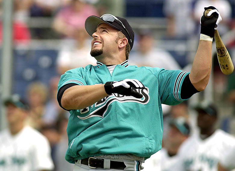 Staff Photo by John Ewing, Thursday, June 29, 2000: Florida Marlins first baseman Kevin Millar watches one of his drives sail over the fence during a home run derby competition before the Sea Dogs/Marlins exhibition game at Hadlock Field. Baseball John Ewing Kevin Millar Sea Dogs