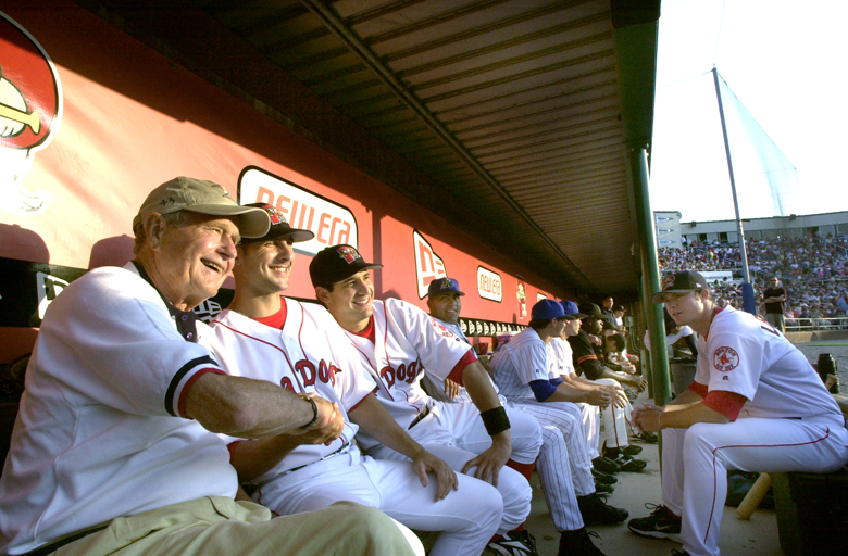 Staff Photo by John Patriquin, Wednesday, July 13, 2005: Former President George Bush shares a photo op with Sea Dogs All Stars Chris Durbin and Kenny Perez before the start of the All Star game at Hadlock Field in Portland tonight. Baseball John Patriquin bush bio