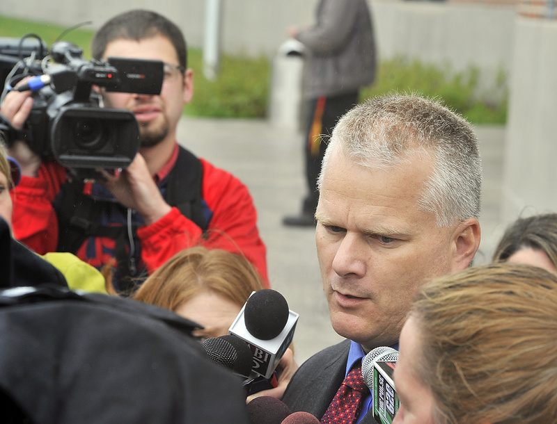 Kyle Dube's attorney, Stephen Smith, talks to the media Wednesday, when Dube was arraigned in Penobscot County Superior Court.