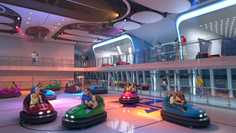 This computer-generated image provided by the Royal Caribbean International cruise line shows a bumper car attraction planned for the forthcoming ship, Quantum of the Seas.