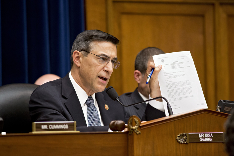 House Oversight Committee Chairman Rep. Darrell Issa, R-Calif., raises questions during a House Oversight Committee hearing about last year's deadly assault on the U.S. diplomatic mission in Benghazi, Libya, on Capitol Hill in Washington on Wednesday.