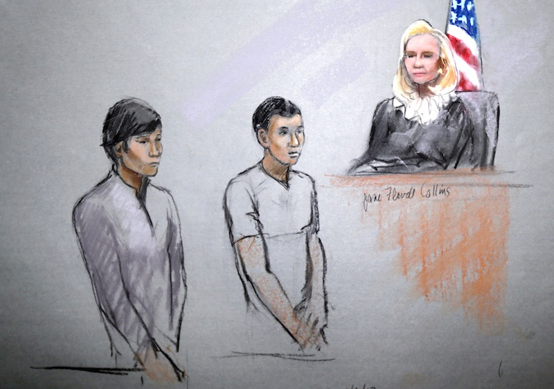 This courtroom sketch signed by artist Jane Flavell Collins shows defendants Dias Kadyrbayev, left, and Azamat Tazhayakov appearing in front of Federal Magistrate Marianne Bowler at the Moakley Federal Courthouse in Boston, Mass., Wednesday, May 1, 2013.
