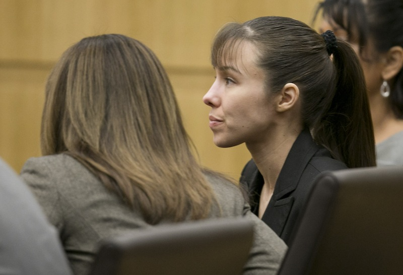Jodi Arias listens as the verdict for sentencing is read for her first degree murder conviction at Maricopa County Superior Court in Phoenix, Ariz., on Thursday, May 23, 2013. The jury in Jodi Arias' trial was dismissed Thursday after failing to reach a unanimous decision on whether the woman they convicted of murdering her one-time boyfriend should be sentenced to life or death in a case that has captured headlines worldwide with its sex, lies, violence. (AP Photo/The Arizona Republic, David Wallace, Pool)