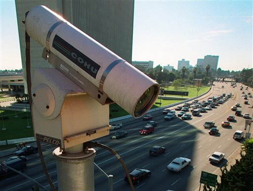 A remote camera for the Los Angeles Department of Transportation oversees traffic flow in the Westwood area of Los Angeles. A Los Angeles councilman wants the city to examine giving police access to the cameras, which would expand the LAPD's camera network from about 700 cameras to more than 1,000.