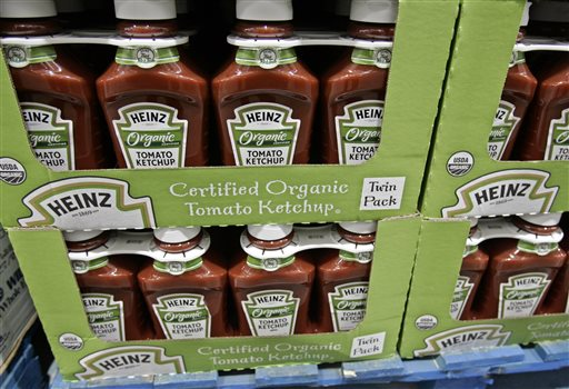 Bottles of Heinz organic tomato ketchup are on display inside Costco in Mountain View, Calif. The organic industry has exploded in the last decade, with $35 billion in sales and 10 percent growth just last year. There are more than 17,000 certified organic businesses in the country.