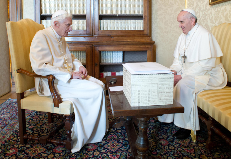 Pope Francis, right, and Pope emeritus Benedict XVI meet in Castel Gandolfo in March. Benedict returned to the Vatican on Thursday.