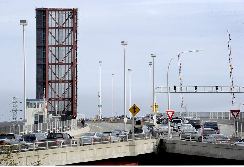 The Casco Bay Bridge from South Portland to Portland became partially stuck Wednesday afternoon, stopping a tanker ship from passing, preventing motorists from entering Portland and keeping all pedestrians off the bridge. Traffic here is backed up going into South Portland during rush hour.