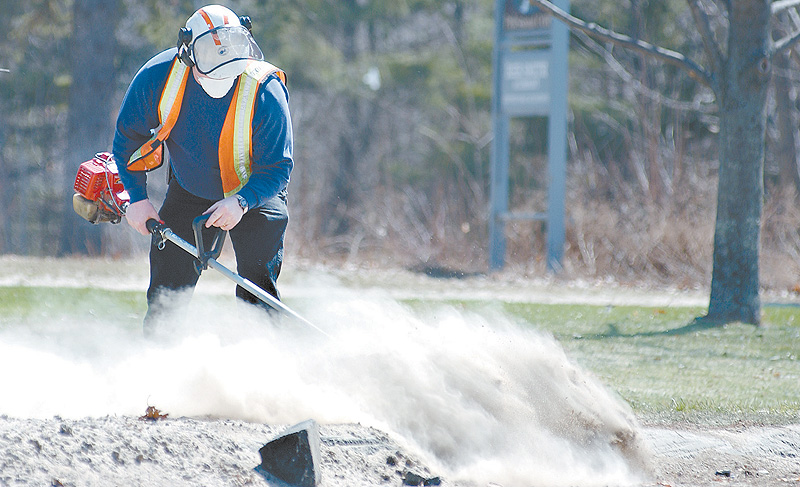 A state employee sweeps salt and sand from grass seedlings in Buxton during spring maintenance. Homeowners can protect roadside plantings by using raised beds or fences.