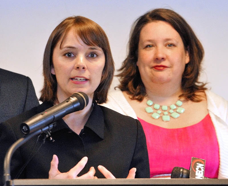 Shenna Bellows, executive director, ACLU of Maine, left, and Rep. Diane Russell (D-Portland) spoke at a news conference about LD 1229 on Friday before a hearing of The Joint Standing Committee on Criminal Justice and Public Safety at the State House in Augusta.