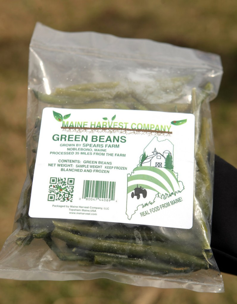 A package of frozen green beans from a Maine Harvest Co. test run. MHC will buy locally grown produce from Maine farmers and package it, refrigerated or frozen, for distribution at farmers markets and stores.