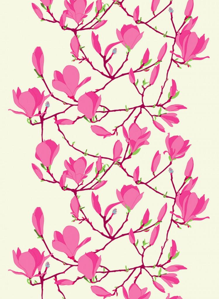 Magnolia blossoms decorate Marimekko's Keisarinna fabric.
