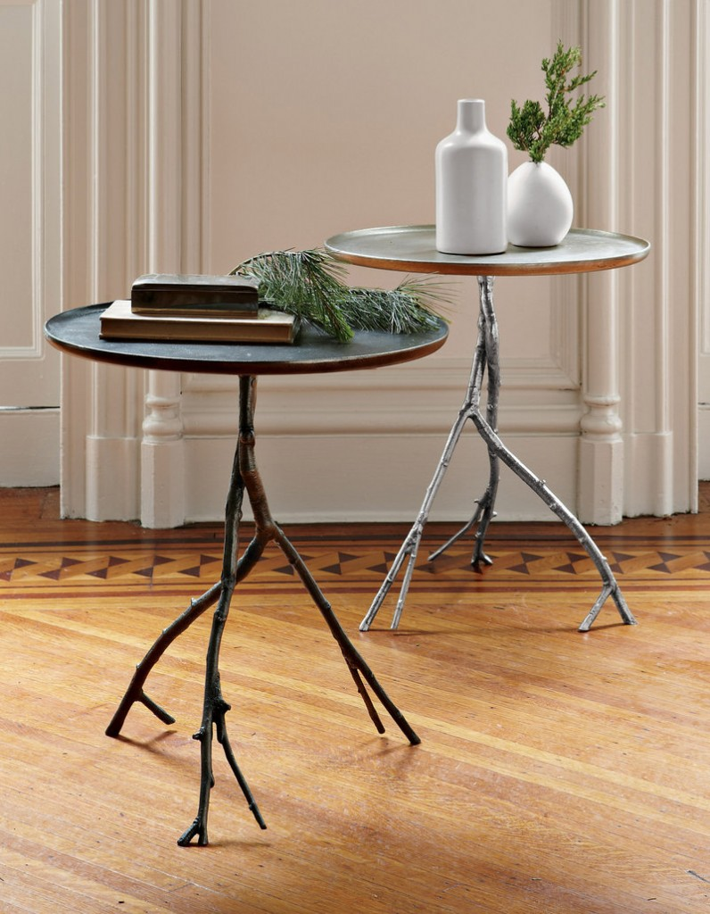 Birch branches gathered in the forest were used to make the twiggy legs of West Elm's side table ($249).