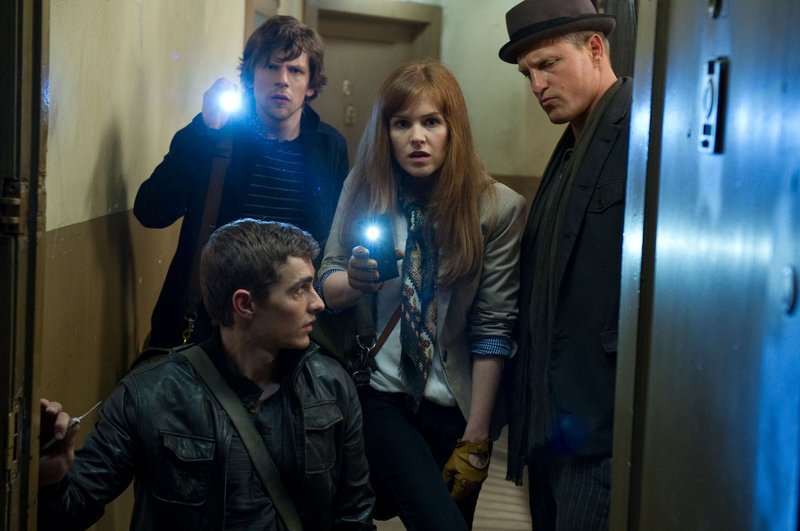 """Clockwise from front, Dave Franco, Jesse Eisenberg, Isla Fisher and Woody Harrelson in """"Now You See Me,"""" like """"Ocean's Eleven,"""" only with magicians."""