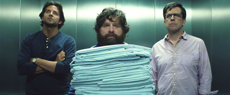 """Bradley Cooper, left, Zach Galifianakis and Ed Helms in """"The Hangover 3,"""" one of the film franchises that were produced by Legendary Entertainment."""