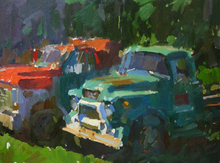 """Truck for Hire,"" oil on canvas by Colin Page, from the exhibition of his work opening with a reception Thursday and continuing through June 1 at Greenhut Galleries in Portland."