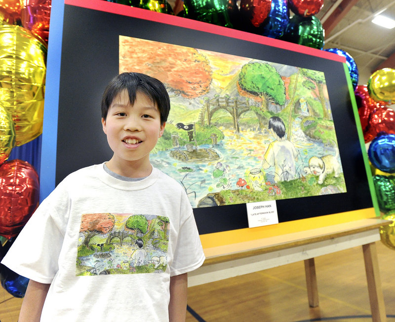 14-year-old Joey Han, an eighth-grade student at Falmouth Middle School, was honored as a finalist in a national contest to create the best