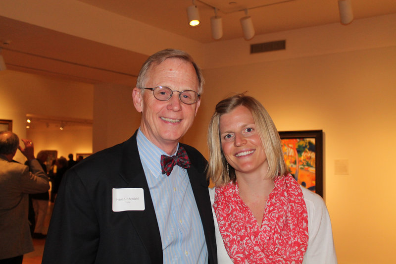 Hans Underdahl, museum board chairman, with his daughter Hannah at the exhibition preview for the museum's Director's Circle.