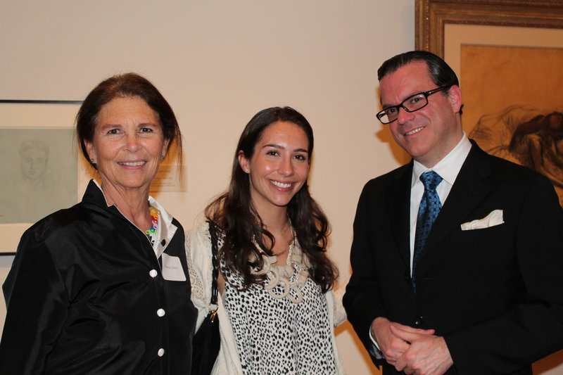 """Frances Zilkha of Portland, left, with her daughter Zmira Zilkha and Bernardo Laniado-Romero, director of the Museu Picasso de Barcelona and guest lecturer at Tuesday's preview of """"The William S. Paley Collection: A Taste for Modernism"""" at the Portland Museum of Art."""