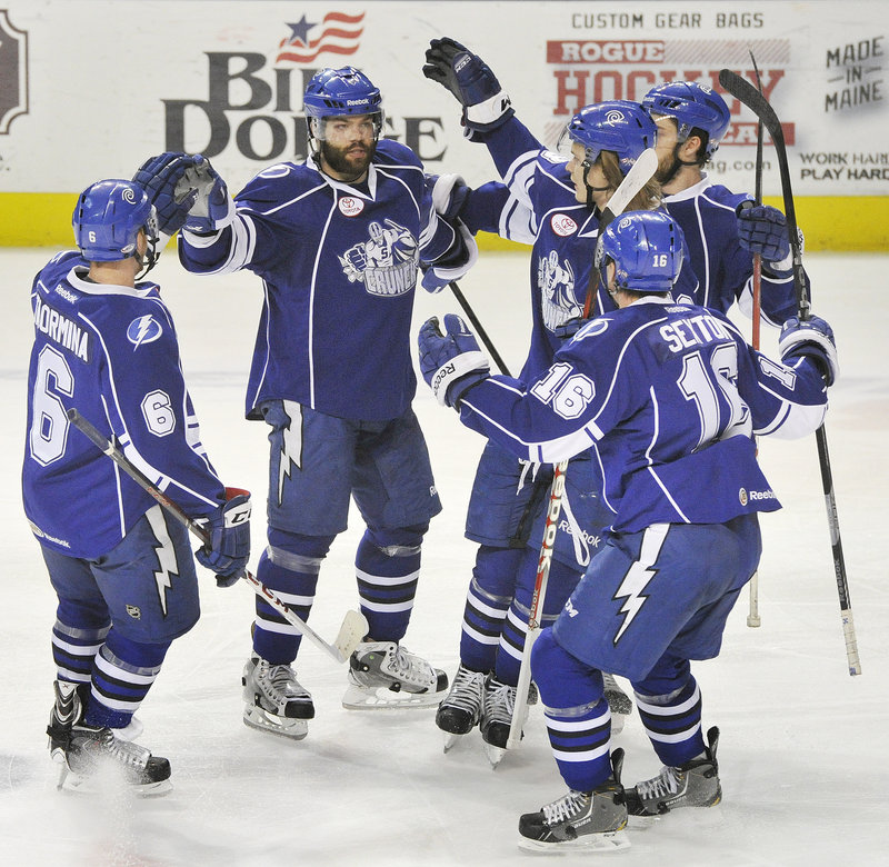 While the Portland Pirates had little to celebrate Thursday night … or throughout their three-and-out stint in the playoffs … the Syracuse Crunch celebrated this second-period goal by Radko Gudas, then went on to a 4-3 overtime victory at the Cumberland County Civic Center.